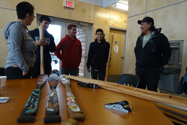 Cultural craft - paddle carving in Ahousaht, BC